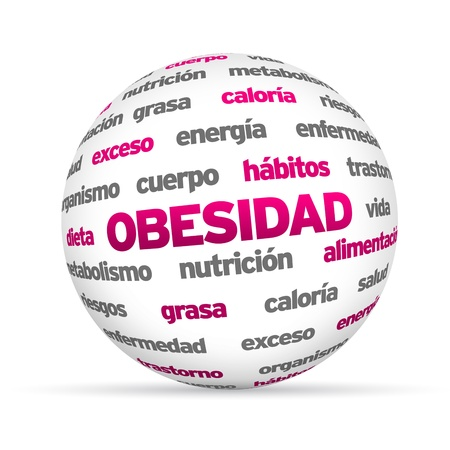 3d Obesity Word Sphere isolated on white background. Stock Photo