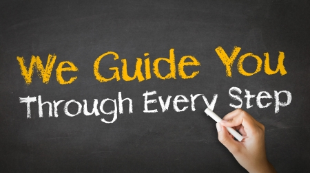 A person drawing and pointing at a We guide you through every step Chalk Illustration Standard-Bild