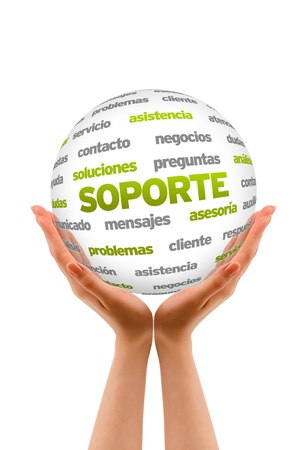 Hands holding a 3D Support Word Sphere in white background. Stock Photo - 21219343