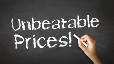 unbeatable: A person drawing and pointing at a Unbeatable Prices Chalk Illustration