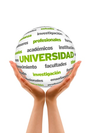 Hands holding a 3D University Sphere in white background. photo