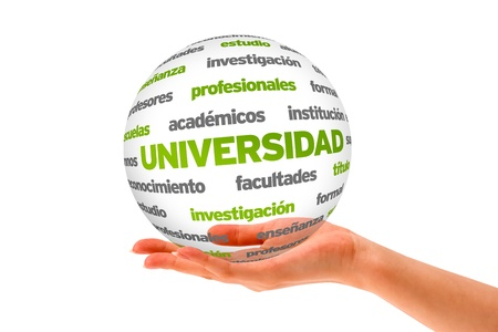 Hand holding a University 3D Sphere on white background. photo