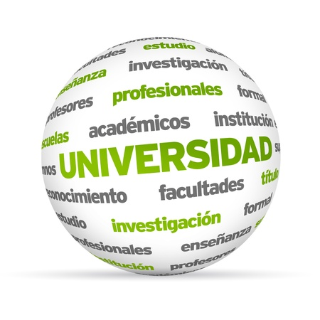 3d University Word Sphere isolated on white background. photo