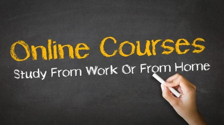 online learning: A person drawing and pointing at a Online Courses Chalk Illustration