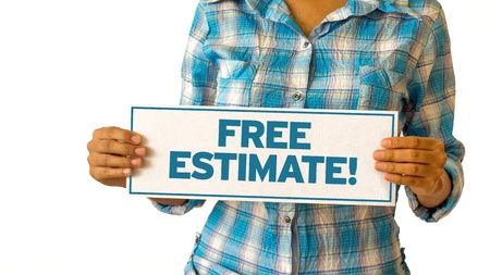 requesting: A woman holding a Free Estimate sign.
