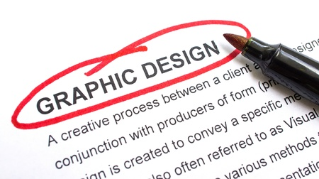 animations: Graphic Design explanation with heading circled in red. Stock Photo