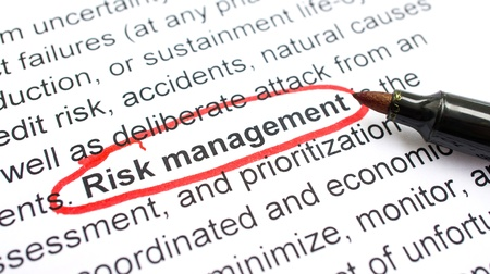 Risk Management explanation with heading circled in red. Stock Photo - 22302505