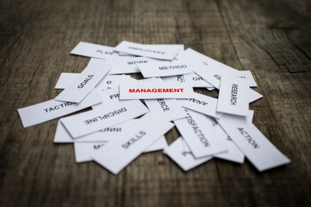 Paper strips with Management related words on wooden background Фото со стока