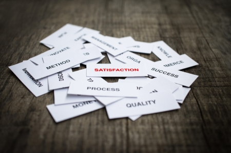 Paper strips with Satisfaction related words on wooden background Stock Photo