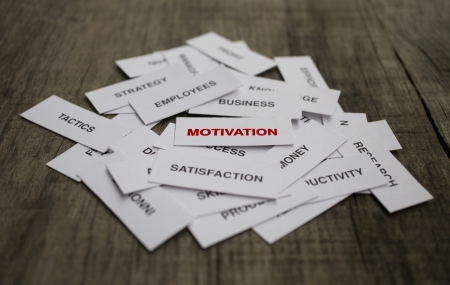 Paper strips with Motivation related words on wooden background Фото со стока
