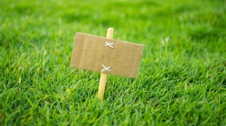 Een miniatuur te koop bord op groen gras