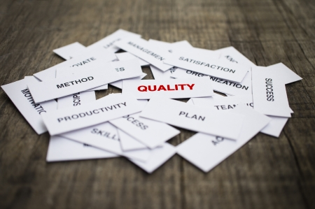 aftersales: Paper strips with Quality related words on wooden background