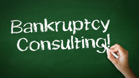 A person drawing and pointing at a Bankruptcy Consulting Chalk Illustration