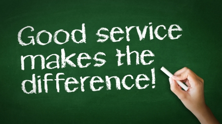 A person drawing and pointing at a Good Service makes the difference Chalk Illustration
