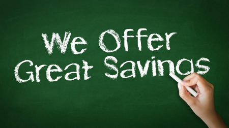 merchant: A person drawing and pointing at a We offer Great Savings Chalk Illustration