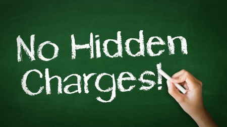 charge: A person drawing and pointing at a No Hidden Charges Chalk Illustration Stock Photo