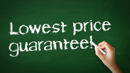 A person drawing and pointing at a Lowest Price Guarantee Chalk Illustration