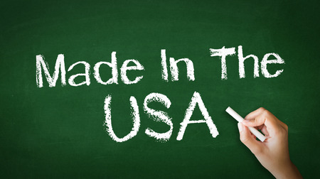 A person drawing and pointing at a Made in USA Chalk Illustration Фото со стока - 25604275