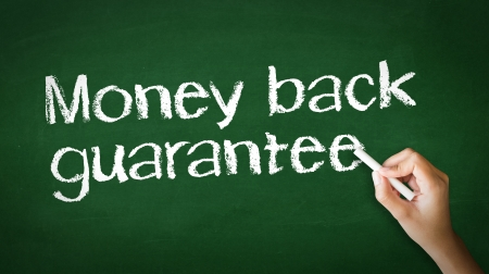 A person drawing and pointing at a Money Back Guarantee Chalk Illustration