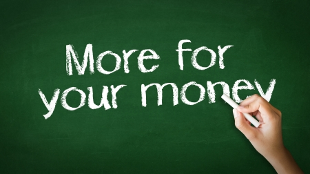 A person drawing and pointing at a More for your money Chalk Illustration