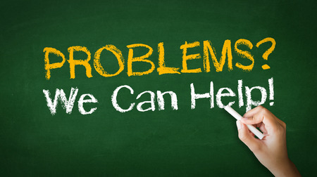 A person drawing and pointing at a Problems we can help Chalk Illustration