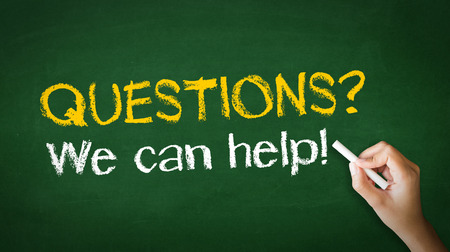 A person drawing and pointing at a Questions, we can help Chalk Illustration