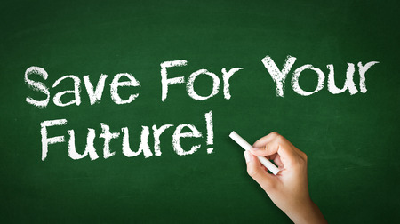 A person drawing and pointing at a Save For Your Future Chalk Illustration