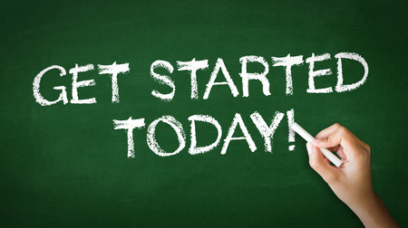 A person drawing and pointing at a Get Started Today Chalk Illustration