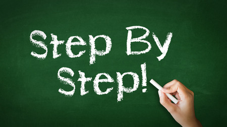 A person drawing and pointing at a Step by Step Chalk Illustration
