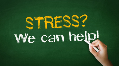 A person drawing and pointing at a Stress we can help Chalk Illustration