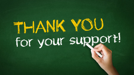 customer support: A person drawing and pointing at a Thank you for your support Chalk Illustration