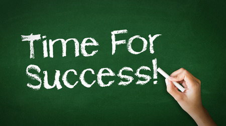 A person drawing and pointing at a Time for Success Chalk Illustration