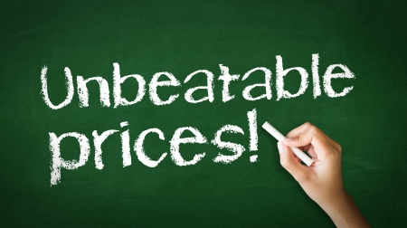 A person drawing and pointing at a Unbeatable Prices Chalk Illustration