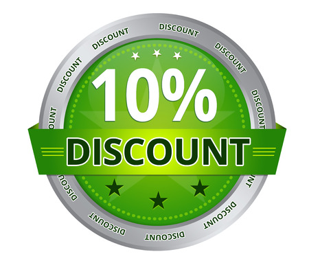 Green 10 percent Discount icon on white background