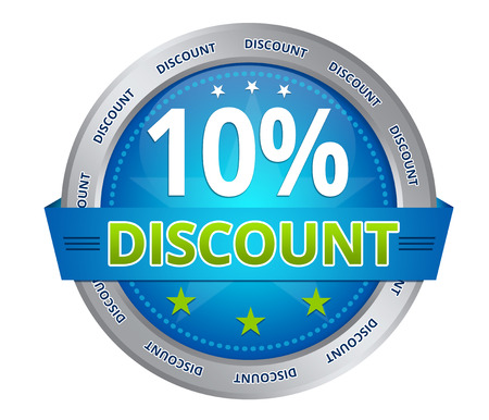 Blue 10 percent discount icon on white background