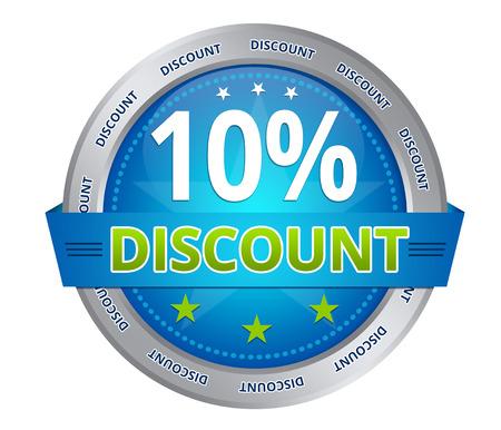 Blue 10 percent discount icon on white background Фото со стока - 25888152