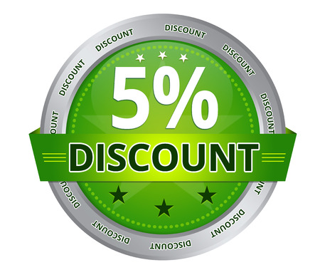 Green 5 percent Discount icon on white background