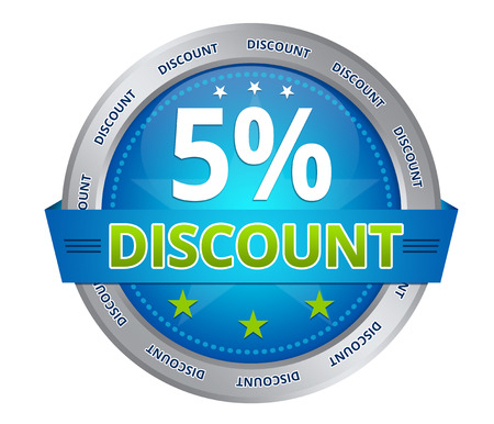 Blue 5 percent discount icon on white background