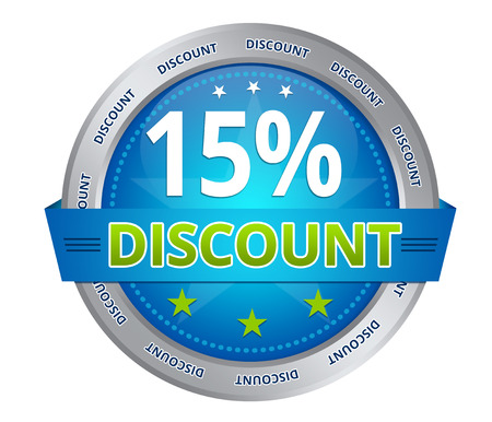 Blue 15 percent discount icon on white background
