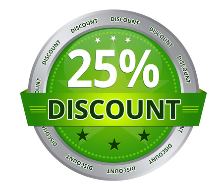 Green 25 percent Discount icon on white background Stock Photo