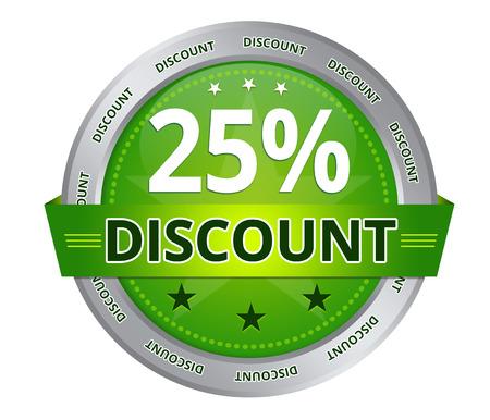 Green 25 percent Discount icon on white background Stockfoto