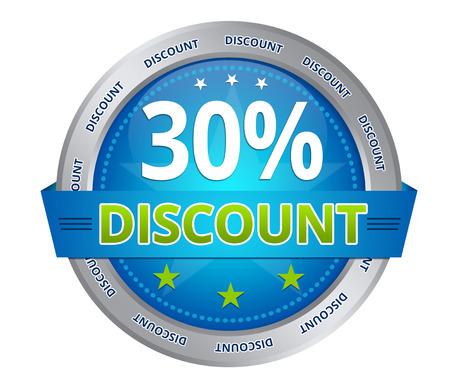 Blu 30 per cento di sconto icona su sfondo bianco