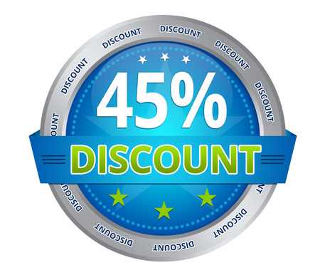 Blue 45 percent discount icon on white background