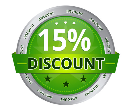 Green 15 percent Discount icon on white background