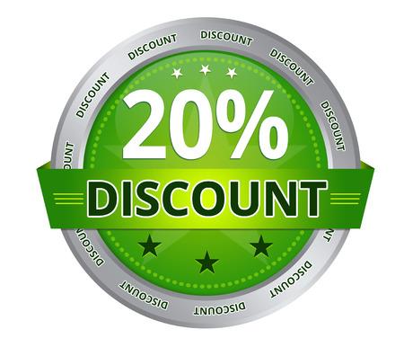 Green 20 percent Discount icon on white background Standard-Bild