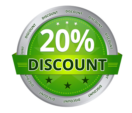 Green 20 percent Discount icon on white background Фото со стока - 25888162