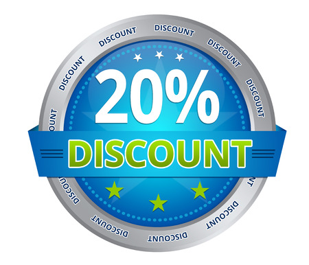 Blue 20 percent discount icon on white background Stock Photo