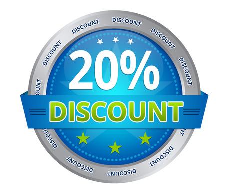 Blue 20 percent discount icon on white background Stockfoto
