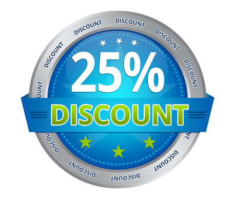 Blue 25 percent discount icon on white background Stockfoto