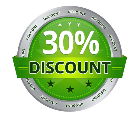 Green 30 percent Discount icon on white background